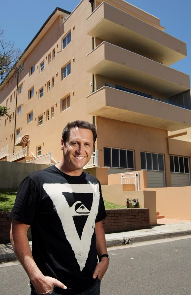TV host Larry Emdur outside his first home at North Bondi in Sydney.