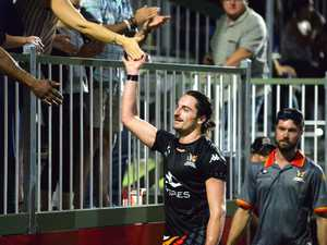 Magpies Crusaders' Kyle Markham celebrates with fans