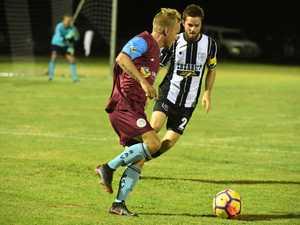 FOOTWORK: Aston Villa player Michael Stayte keeps the