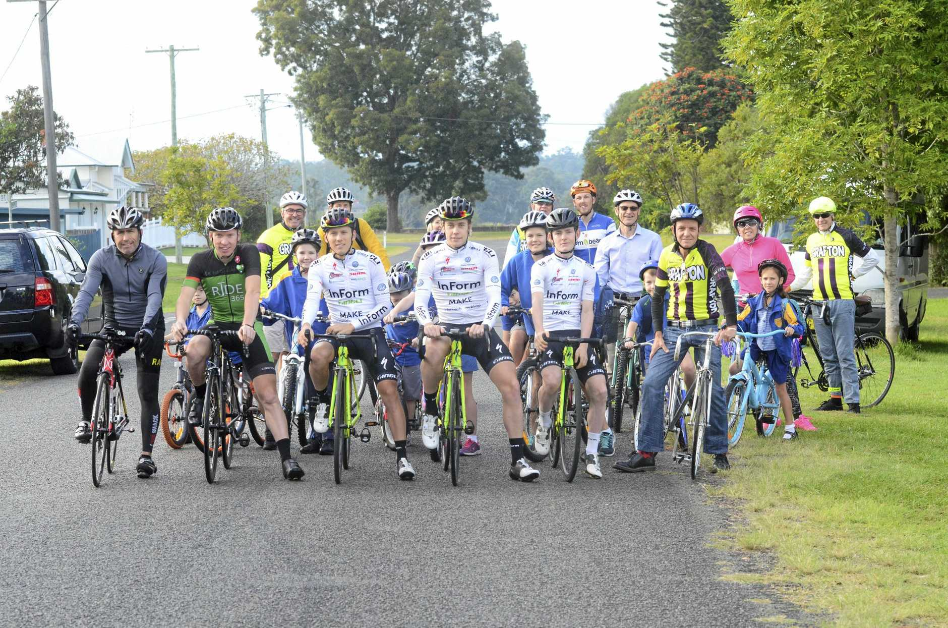 Professional cyclists competing in the Grafton to Inverell Cycle Classic joined Grafton Public School students in their weekly 'Bike Bus' ride to school on Friday, 12th May, 2017.