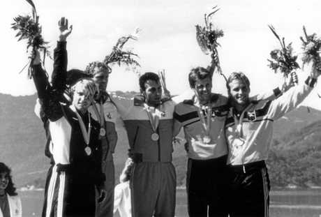 Grant Kenny with fellow medal winners at the 1984 Los Angeles Olympic Games after taking bronze in the K2 1000 metres.