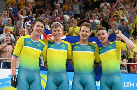 Leigh Howard, Kelland O'Brien, Alex Porter and Sam Welsford after taking out the men's team pursuit at the Gold Coast Games.