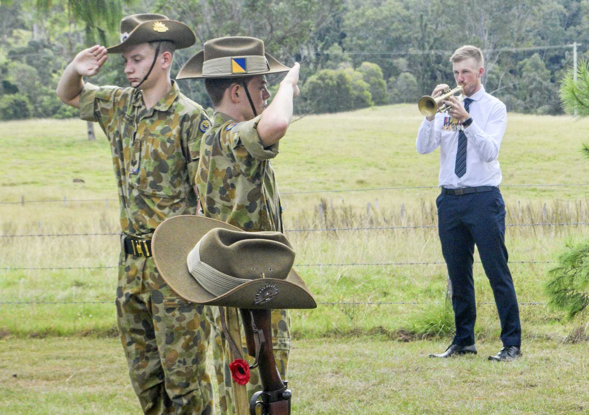 LEST WE FORGET: Garrett Salter plays The Last Post as the 24th Australian Army Cadets (Grafton) salute the fallen and those who have served the country at the Ramornie Anzac service on Sunday morning.