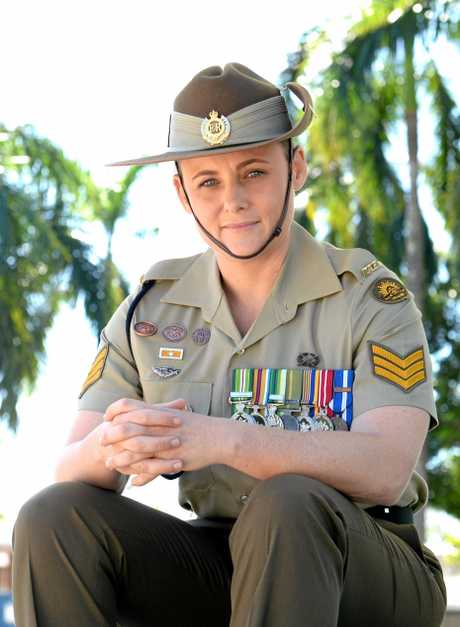 Sergeant Kelly Harding at the Mackay Cenotaph yesterday, ahead of Wednesday's main Anzac Day parade, which she will lead.