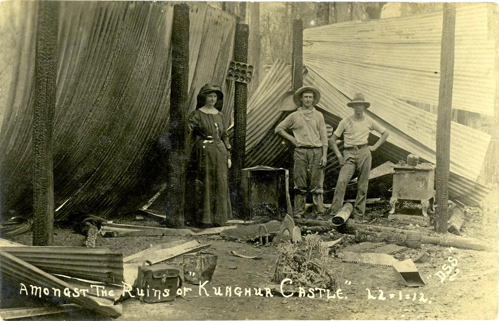*** Must attribute source *** 'Amongst the ruins of Kunghur Castle, 1912' [US000187], we see a family despondent at the loss of their home. Photographer Douglas Solomons.