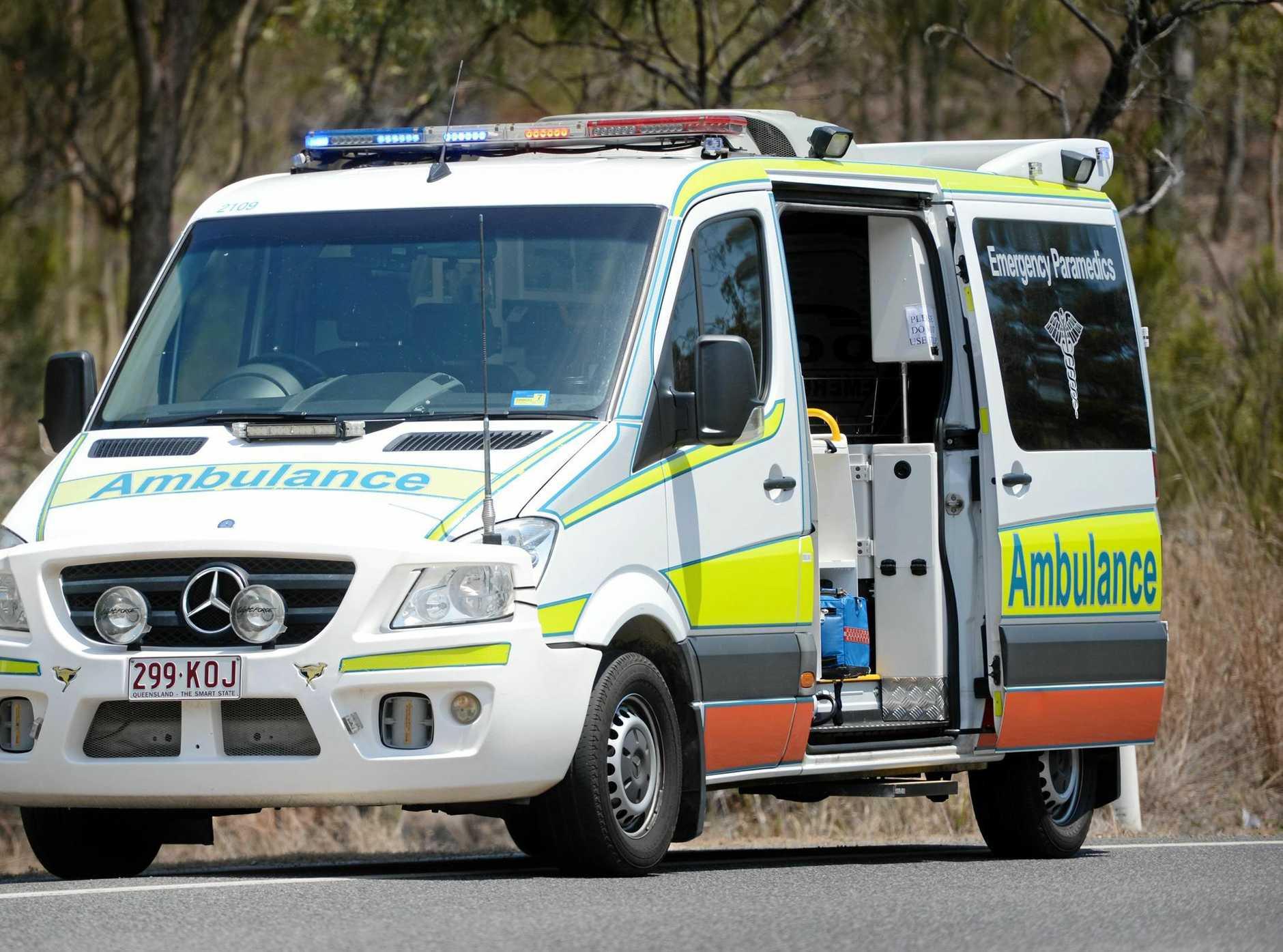 Emergency services respond to single car crash.