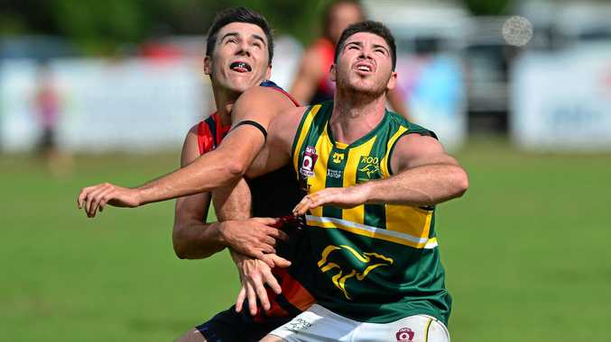 IN ACTION: Noosa's Will O'Dwyer and Maroochydore's Jacob Simpson jostle for possession on Saturday.