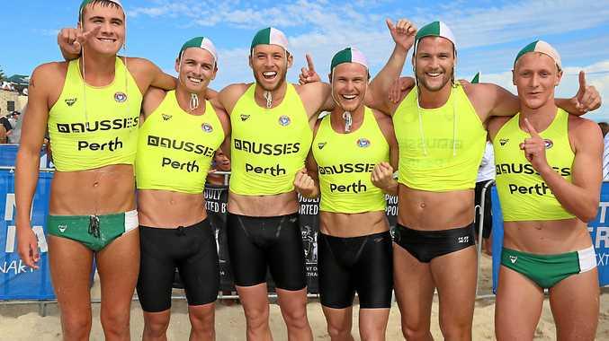 Local surf lifesaver Ky Kinsela (left) with his Australian title winning Currumbin SLSC Taplin Relay teammates.