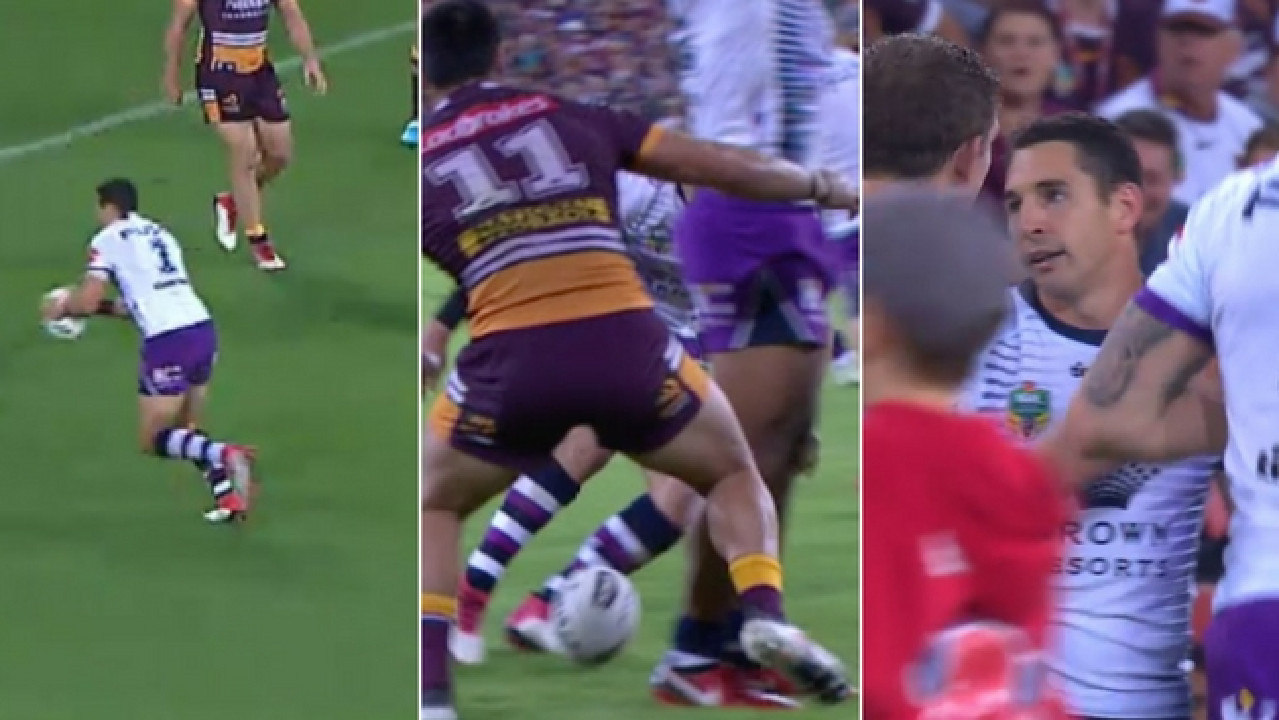 Billy Slater's controversial 'drop kick' try.