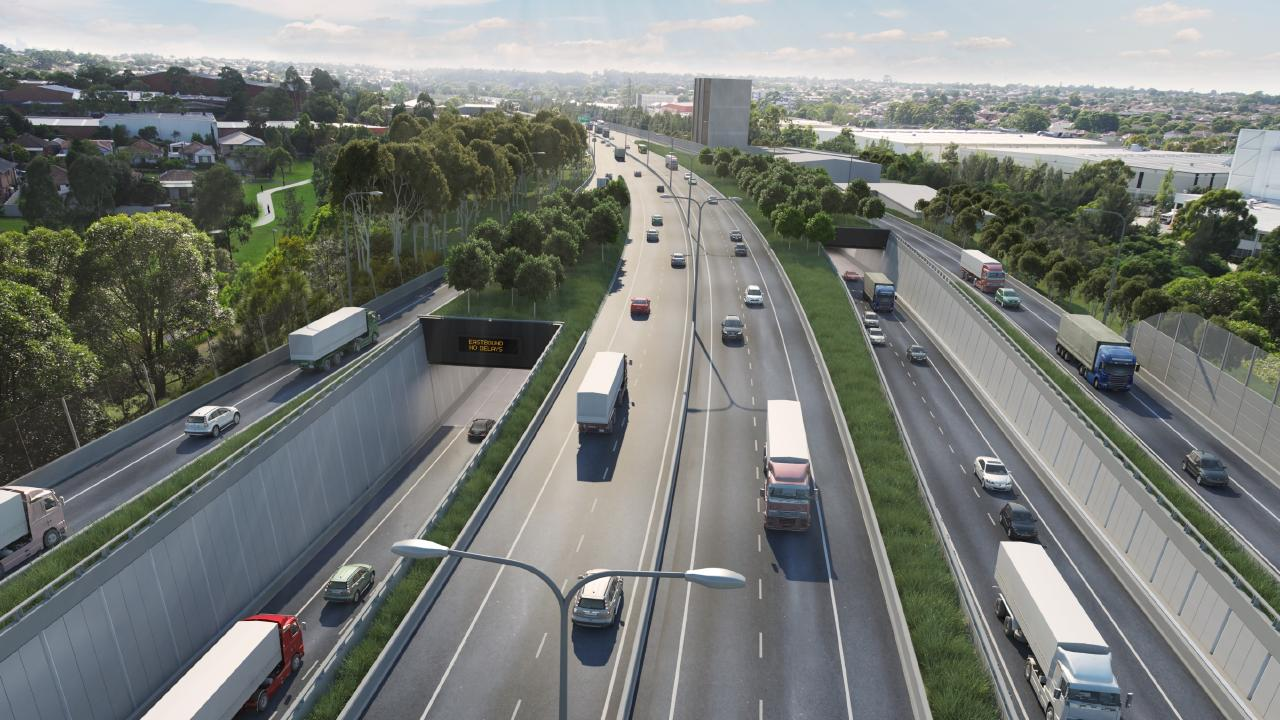 Artists impression of the westbound tunnel entry portals on completion on the duplicated M5 motorway, part of Sydney's WestConnex.