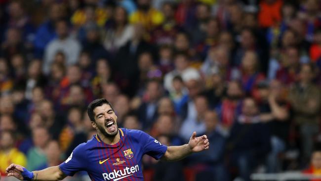 Barcelona's Luis Suarez celebrates