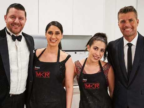 MKR contestants Sonya & Hadil with Manu Feildel and Pete Evans. Picture: Instagram @sonyahadilau