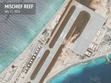 A close-up satellite photograph of part of China's massive works on Mischief Reef, showing the types of aircraft facilities on its enormous airstrip can accommodate. Picture: CSIS/AMTI