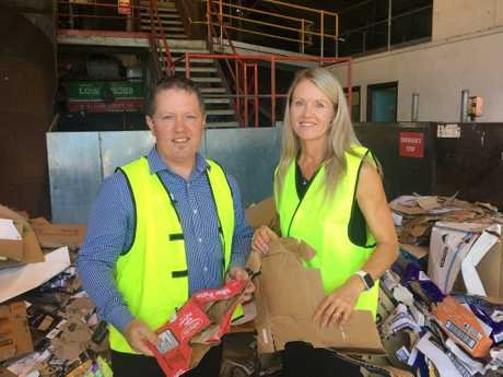 RECYCLING: Bundaberg Regional Council waste and recycling spokesman Scott Rowleson and Impact Community Services chief executive Tanya O'Shea.