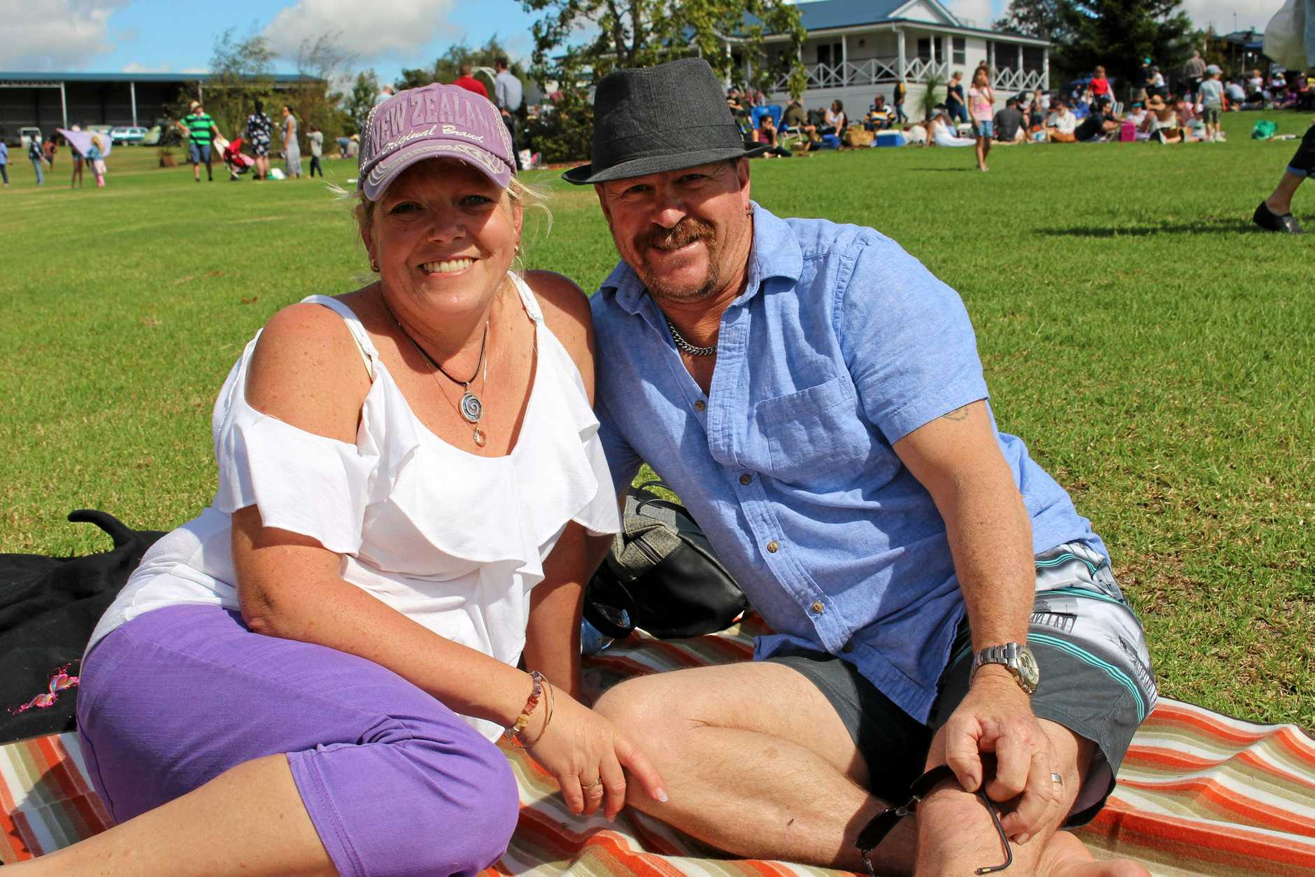 Jill Mitchell and Leigh Collins enjoying a glass of wine and sunshine.