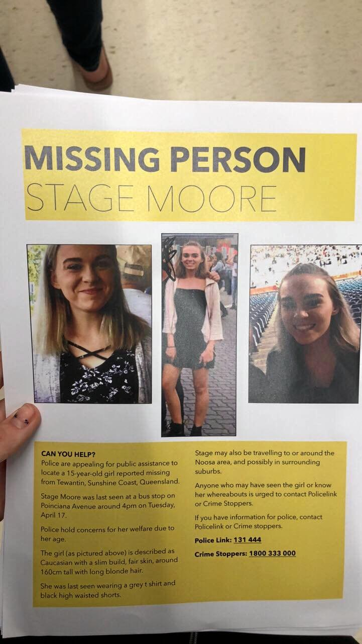 Flyers for missing girl Stage Moore.