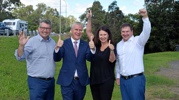 A WIN FOR GYMPIE: Keith Pitt, Deputy PM Michael McCormack, Gympie Times editor Shelley Strachan and Wide Bay MP Llew O'Brien celebrate the $800 million funding announcement for Section D.