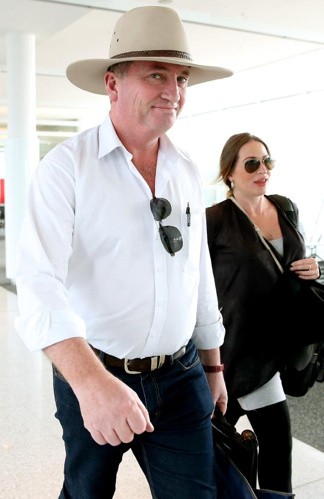 Former Deputy Prime Minister Barnaby Joyce and his pregnant partner Vikki Campion at Canberra airport. Picture: Kym Smith