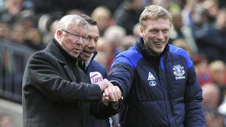 Manchester United manager Sir Alex Ferguson, left, and his successor David Moyes