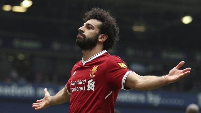 Liverpool's Mohamed Salah celebrates