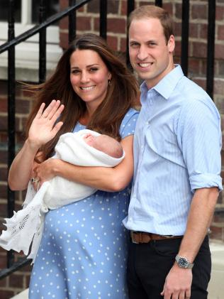 A newborn Prince George is photographed outside the hospital in 2013. (Credit: Barcroft Media via Getty Images)
