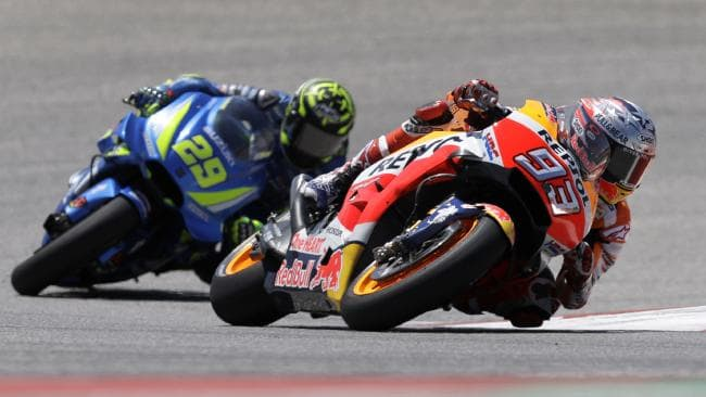 Iannone stuck with Marquez in the early laps.