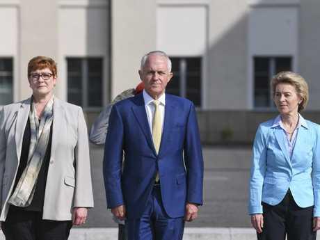 Australian Defence Minister Marise Payne, Prime Minister Malcolm Turnbull and German Defence Minister Ursula von der Leyen in Berlin: Picture: AP