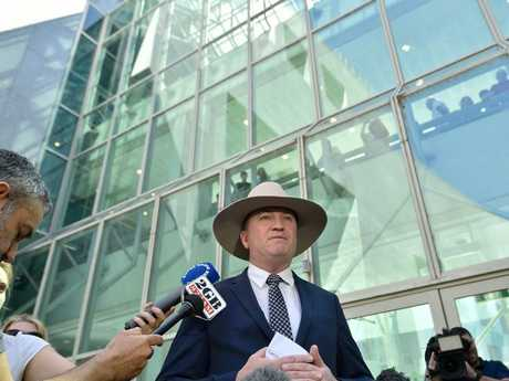 Barnaby Joyce speaks to the press in Canberra. Picture: Getty