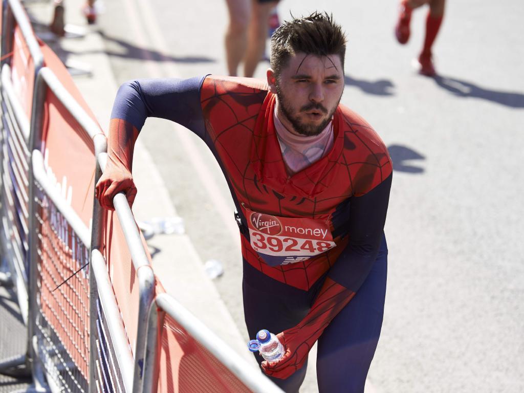 Spider-Man feels the heat. / AFP PHOTO / Niklas HALLEN