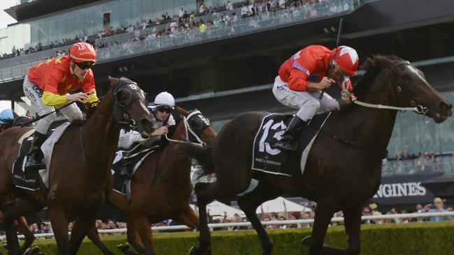 Seabrook ridden by Damien Oliver (right) wins race 6, the Moet & Chandon Champagne Stakes during the All Aged Stakes Day at Royal Randwick racecourse in Sydney, Saturday, April 21, 2018. (AAP Image/David Moir) NO ARCHIVING, EDITORIAL USE ONLY