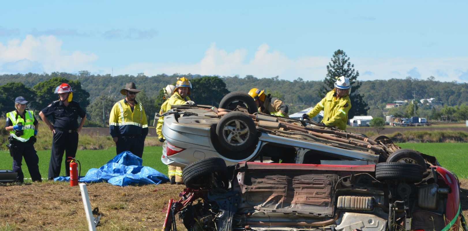 A two vehicle crash at the intersection of Lake Clarendon Way and Forest Hill-Fernvale Rd at Glenore Grove at 8am this morning has claimed the life of a 63-year-old woman.