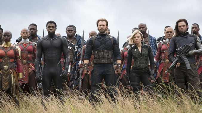 Danai Gurira, Chadwick Boseman, Chris Evans, Scarlet Johansson and Sebastian Stan in a scene from Avengers: Infinity War.