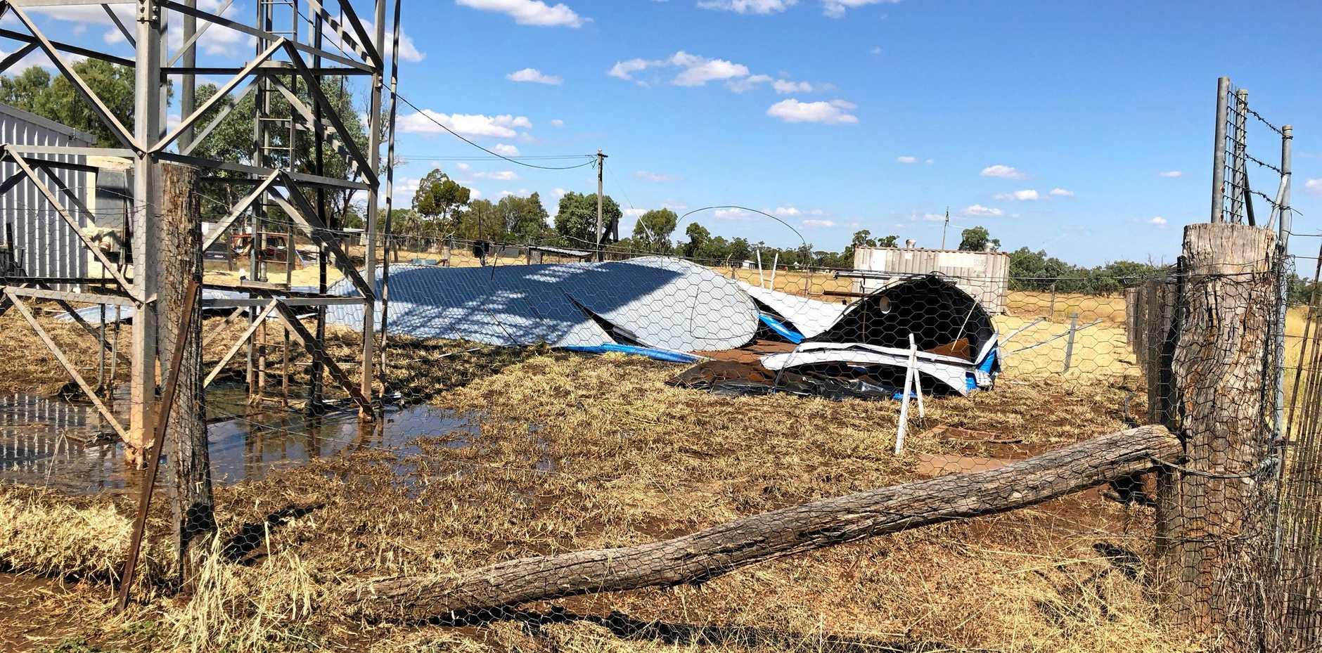 COLLAPSED: The reservoir servicing Muckadilla lies broken on Monday.
