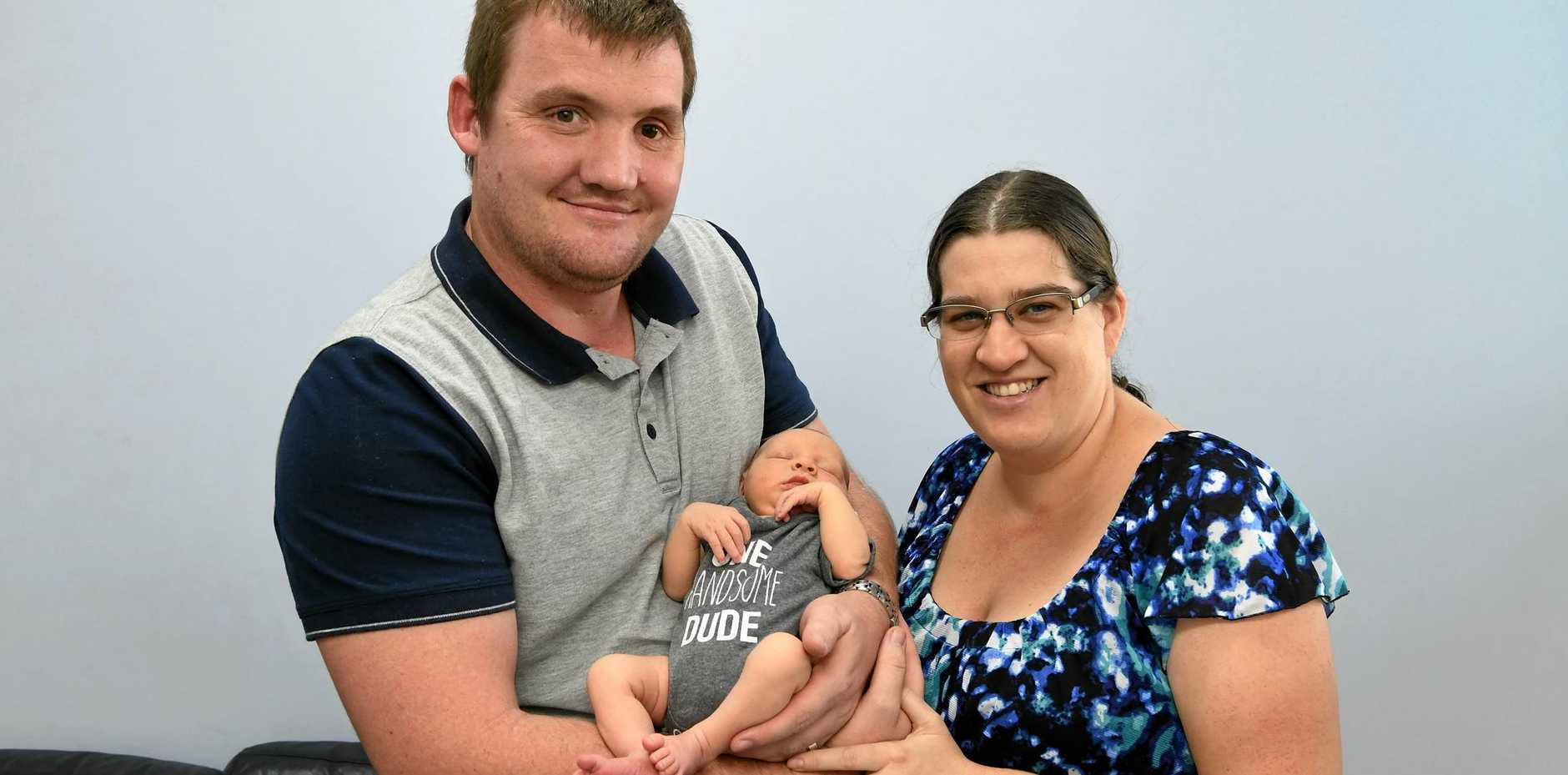 BABY BOY: Konrad Earl Herbener weighed 3035g when he was born at the Bundaberg Hospital last Monday, just a week before the Duchess of Cambridge gave birth to her third son.  Konrad's proud parents are Jason and Yasmin Herbener. His grandparents are Francis and Marilyn Herbener, Christine Olsen and David Colquhoun.