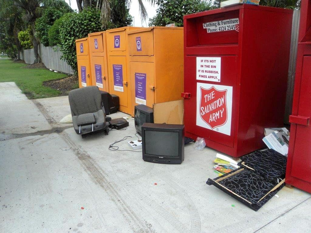 HELPING HAND: Charity donation boxes.