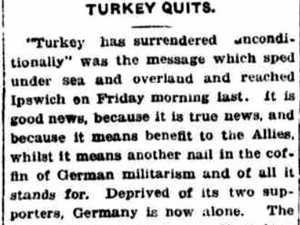 FLASHBACK: 'Turkey quits The Great War'