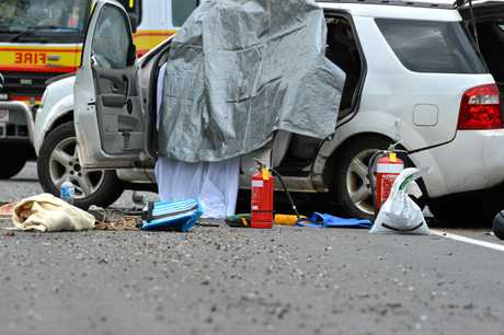 Fatal accident on the Bruce Highway north at the United service station.