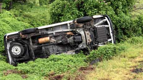 A utility that was driving south towards Gympie when it rolled off the Bruce Highway.