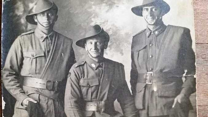 TROOPS: Henry Lobb (left) often wrote about his mates and experience during World War I.