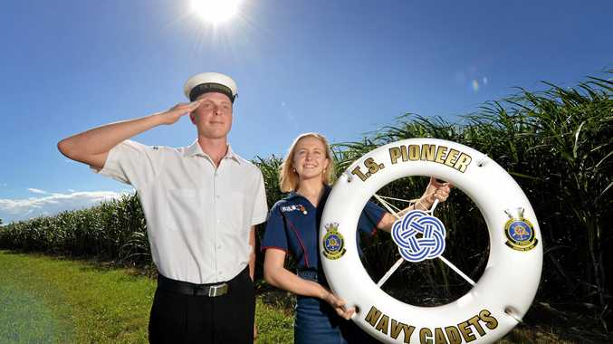 Former TS Pioneer Navy Cadets Jayden Quinn and Brianna Gavan are ready for Anzac Day services in the Mackay region.