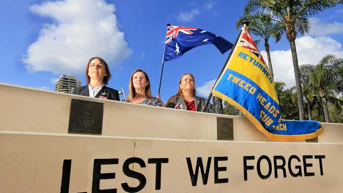 Belinda McIntosh, Michelle Coates, and Annie Strawbridge will lead the Tweed's ANZAC Day march.