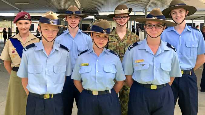 Springfield Central State High School students and cadets commemorated Anzac Day one day early. Back row: Ashley Taylor-Clifford, Ryan Leach, Kaylen Dickinson, Darrion Gleeson Front row: Isaac Groothuis, Charlotte Stanford, Cassandra Strydom.