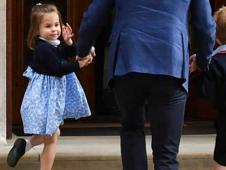 Princess Charlotte and Prince George arrived at St Mary's Hospital with their father Prince William to visit their new younger brother. Picture: AFP Photo / Ben Stansall