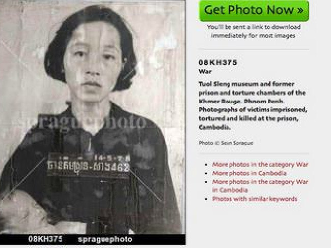 Photo of woman and her baby at the Khmer Rouge torture centre before their genocidal murder was on sale as a stock image for profit.