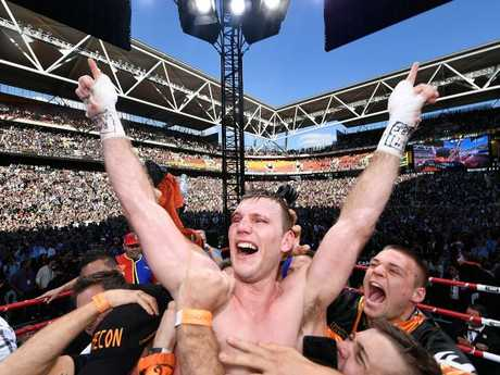 Jeff Horn is jubilant after getting the decision over Manny Pacquiao.
