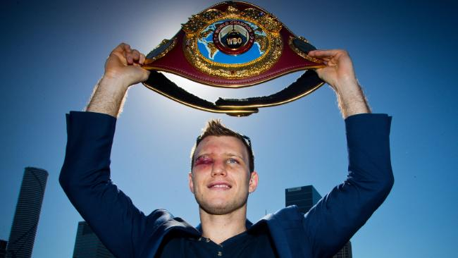 Jeff Horn with his WBO welterweight belt after defeating Manny Pacquiao.