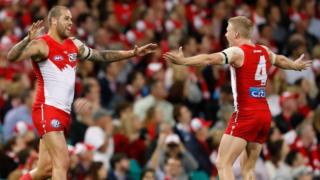 Lance Franklin and Dan Hannebery celebrate a goal.