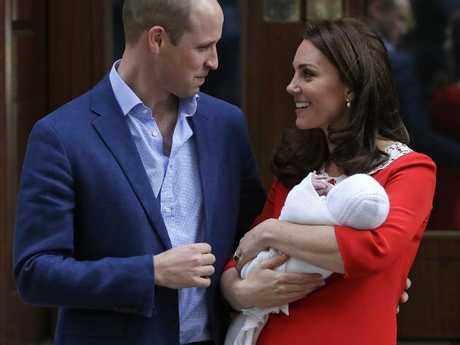 The Duke and Duchess of Cambridge are joining their other two children at Kensington Palace for their first night as a family of five. Picture: AP Photo/Kirsty Wigglesworth