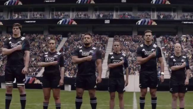 New Zealand rugby stars in a screen grab from the diversity ad.