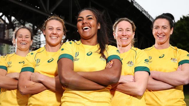 Wallaroos Shannon Parry, Sharni Williams, Mahalia Murphy, Ash Hewson, Mollie Gray before last year's World Cup.